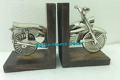 Robin Exports Unique Best Decorative Showpiece Wood & Aluminium Motorbike Bookend Nautical Decor