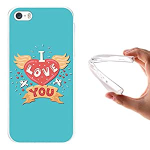 Funda iPhone SE iPhone 5 5S, WoowCase [ iPhone SE iPhone 5 5S ] Funda Silicona Gel Flexible Frase - I Love You, Carcasa Case TPU Silicona - Transparente