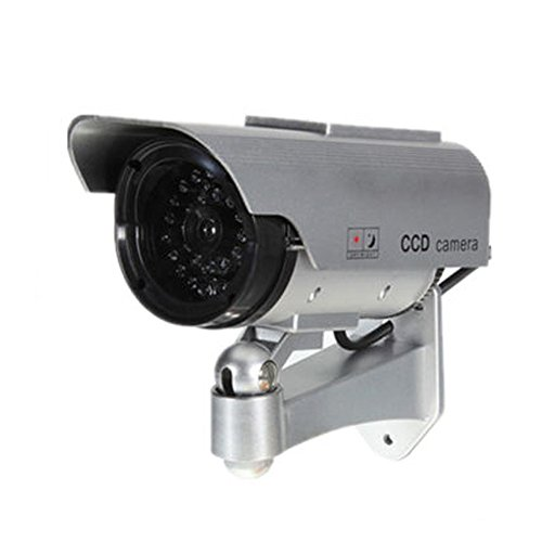 Etopars Solar Power Silver Fake Dummy Security CCTV Camera Waterproof IR LED Outdoor Indoor Surveillance by Etopars