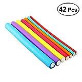Frcolor 42 Packs Hair Curler Rollers Flexible Hair Curling Rods for Women (Random Color)