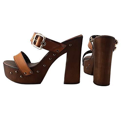 Kiara cuoio Shoes Cuoio Alti Zoccoli In My2410 Made Italy SSRrfq