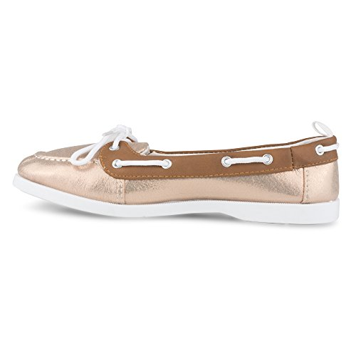 Boat Leather Bonnie Gold Faux Women's Rose Trim Twisted Shoe wTBXqOxz1