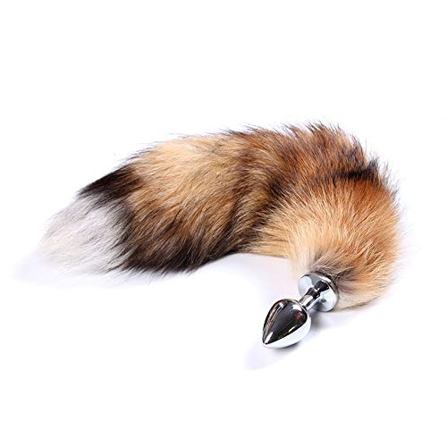 wuqinqing Adult Sexy Furniture Cosplay Roleplay Fox Tail Metal Plug Sexy Tool for Couple(Multi-Color,one Size)