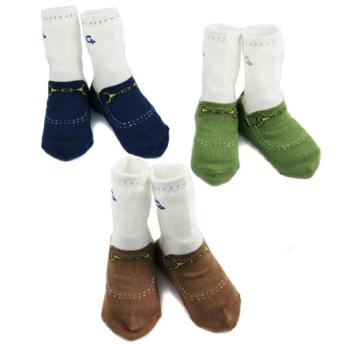 KF Baby Non-Skid Baby Boy Shoe Socks, 3 pairs, Infants to Toddlers