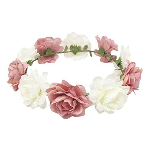 YoYoly halloween costumes,Women Flower Crown Bohemian Rose Headband - Floral Crown Hair Garland (Pink, 107cm)