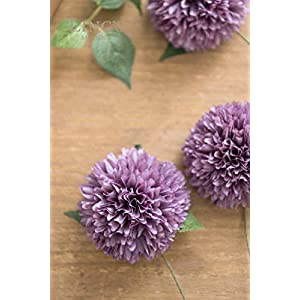Ling's moment Artificial Flowers Real Looking Fake Chrysanthemum Ball w/Stem for DIY Wedding Bouquets Centerpieces Arrangements Party Baby Shower Home Decorations 3