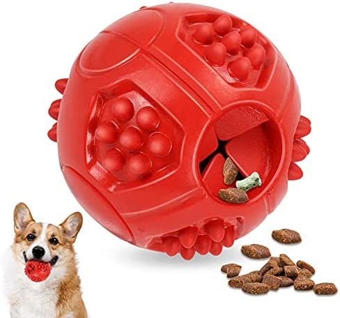 LSJoy Dog Treat Ball – Premium Dog Treat Toys for Training and Dental Hygiene – 8cm Treat Ball for Pets – Natural Rubber Dog Toy – Durable Design for Aggressive Chewers – Milk Flavour