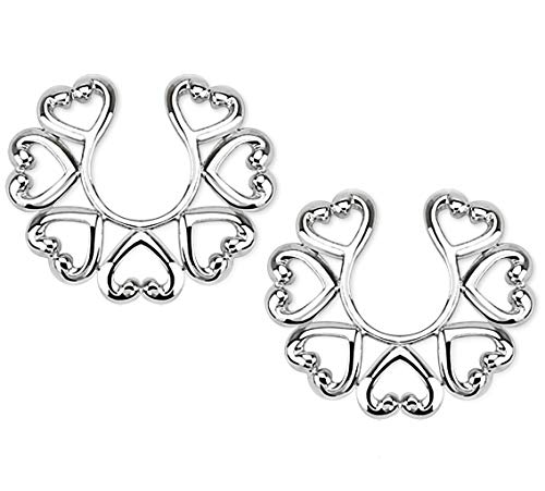 Vintage Hearts Clip On Non Pierce Nipple Rings - Sold as Pair by Pierced Owl