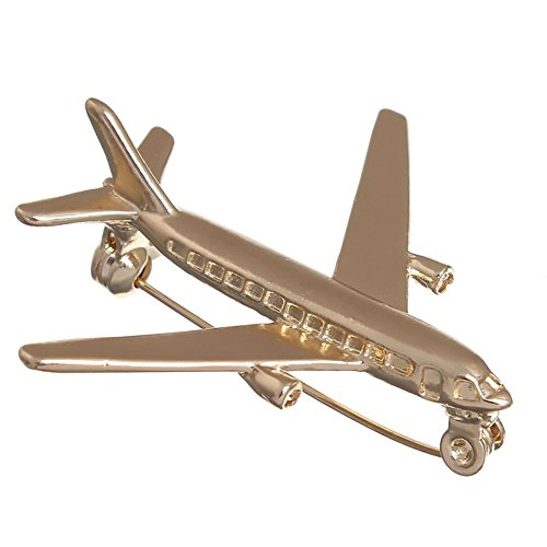 Jet Aircraft Sales - Fashion Women Men Jewelry Airplane Jet Plane Aviation Aircraft Aeroplane Airliner Gold Brooch Pin (Airplane)