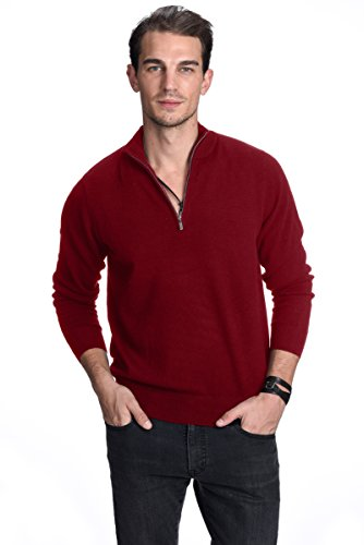 Malo Cashmere Sweater (State Cashmere Men's 100% Pure Cashmere Pullover Half Zip Mock Neck Sweater, Burgundy, L)