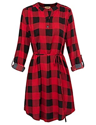 Kate Kasin Women Roll up Sleeve Casual Tunic Mini Plaid T Shirt Dresses KKAF1057