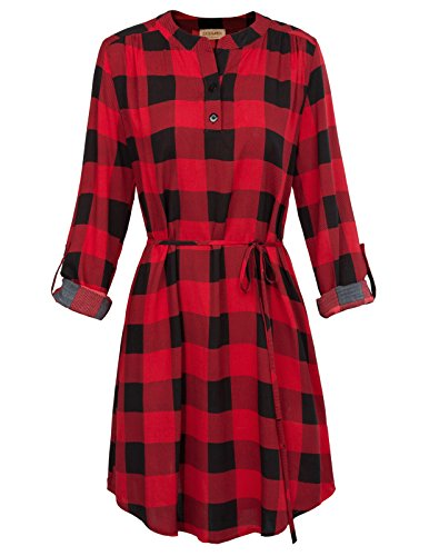 - Women Red Plaid Shirt Dress Roll Up Sleeve Checked Shirt Dress (M,Red)