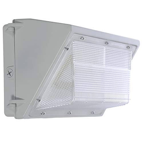 LED White Wall Pack Photo Cell - 80W 5000K Commercial Outdoor Light Fixture, White, (Out-Door Dusk to Dawn Sensor Security Porch Lighting For Industrial Out-Side Photocell)