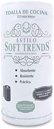 Estilo Soft Trends Toalla De Cocina Eco-premium, 150 Hojas Dobles, 1 Rollo