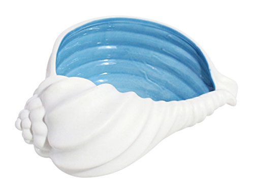 JustNile Adorable Ceramic Seashell Shaped Holder for Candles/Tealight Candles Trinket Organizer Centerpiece, Blue and White