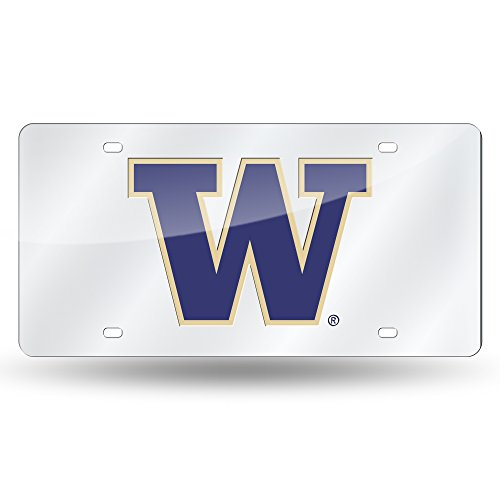 Rico NCAA Washington Huskies Laser Cut License Plate, Silver (Laser Washington Huskies)