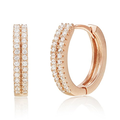 Spoil Cupid Rose Gold-Plated Sterling Silver Double Row Cubic Zirconia Huggie Hoop Earrings