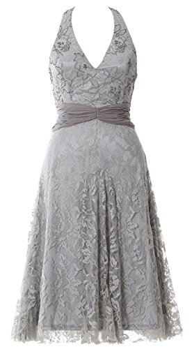 MACloth Women Halter Beaded Lace Short Formal Cocktail Party Dress Evening Gown Plateado