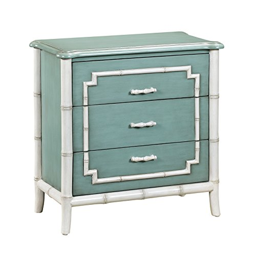 Pulaski DS-2547-850 Bamboo Trim Modern 3 Drawer Accent Chest in Seafoam Green - Bamboo Chest Drawers