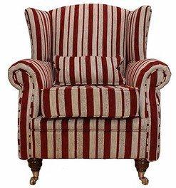 Designer Sofas4u Wing Chair Fireside High Back Armchair Ruby Stripe  sc 1 st  Amazon UK & Designer Sofas4u Wing Chair Fireside High Back Armchair Ruby Stripe ...