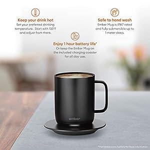 Ember Temperature Control Smart Mug, 10 oz, 1-hr Battery Life, Black – App Controlled Heated Coffee Mug