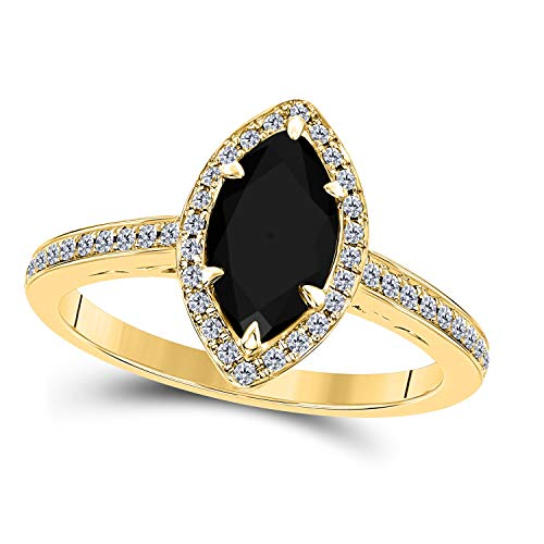DreamJewels 1.20 Ct Created Black Sapphire Marquise Shape & CZ Simulated Diamond 14K Yellow Gold Finish Halo Style Engagement Ring for Women's Girlfriend & Birthday Gift (Gold Cz Rings)