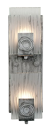 Recycled Chandelier Glass (Varaluz 182W02 Polar 2-Light Vertical Vanity - Blackened Silver Finish with Ice Crystal Recycled Glass)
