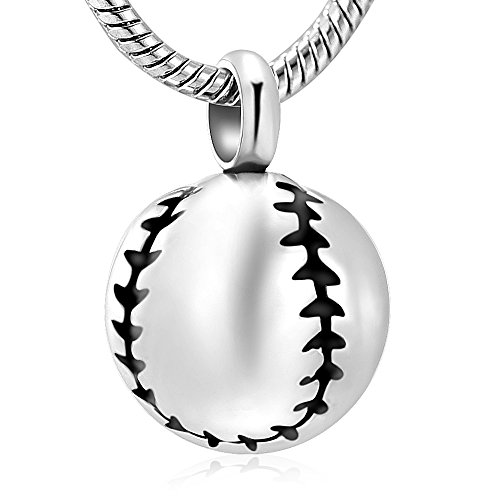 (Stainless Steel 20mm Baseball Memorial Urn Jewellery Pendant Hold Cremation Keepsake Necklace for)