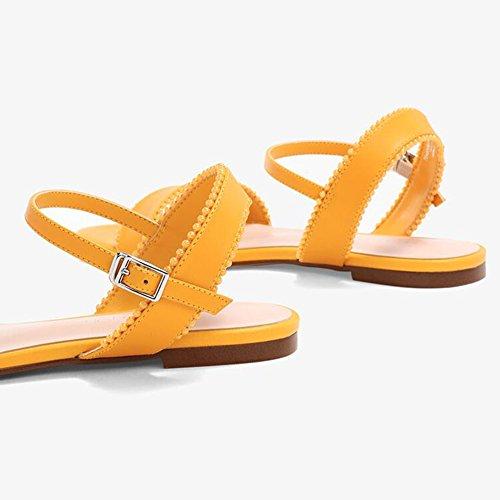 Mujer Cuentas Zapatos Bloque De Zapatos Planas Amarillo Talón Palabras Sandalias Casuales Tacones Temporada Fiesta Playa De De Sandalias Bajo WYYY Banda De Adorno De Verano Bajos 4wEYTqywdZ
