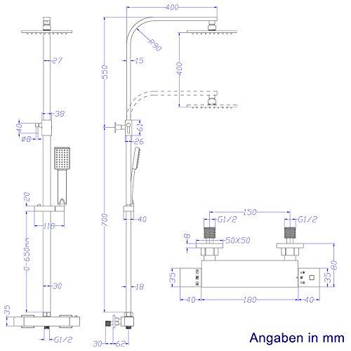 Duschsystem Inkl Thermostat Duschkopf 30x30cm Handbrause