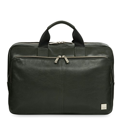 Knomo Luggage Brompton Newbury Full Leather Single Zip Brief 15-Inch, Green, One Size by Knomo