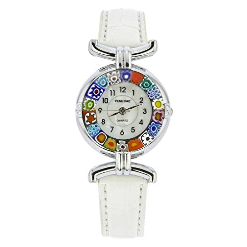 GlassOfVenice Murano Glass Millefiori Watch with Leather Band - White