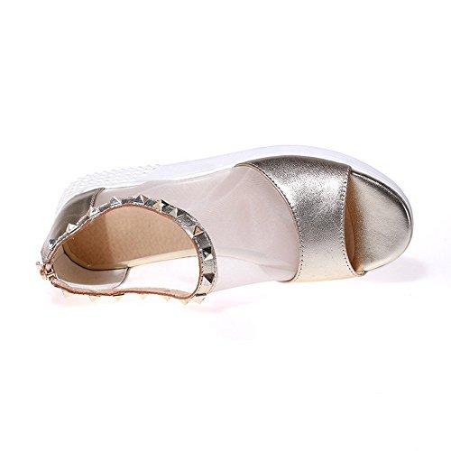 Sandals Solid Open AgooLar Women's Low Toe Materials Zipper Blend heels Gold qxzaO