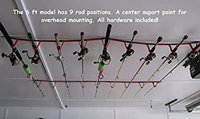 "Overhead or Wall Fishing Rod Rack, Rod Storage System suspends your rods in soft webbing loops protecting your equipment's finish. The 72""version has 9 positions 46""has 6. Hardware included"