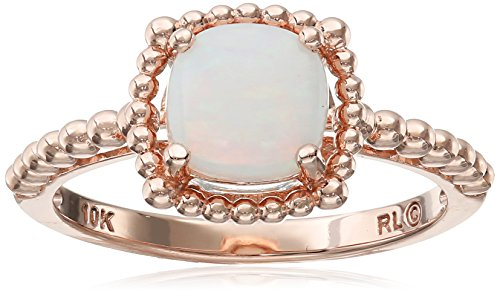 10k Rose Gold Cushion Cut Beaded Opal Ring Size 7