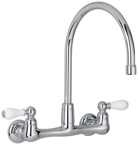 (American Standard 7293.252.002 Heritage Wall-Mount Gooseneck Kitchen Faucet with Porcelain Lever Handles, Chrome)