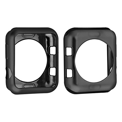 Black Silicone Protector - Series 1&2&3 Fashion Plated TPU Protective Cover Soft Silicone Bumper Case for Apple Watch 42mm(2 Pack)(Black TPU)