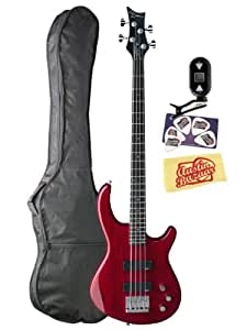 Dean Edge 1 Electric Bass Guitar Bundle with Gig Bag, Tuner, Picks, and Polishing Cloth - Trans Red
