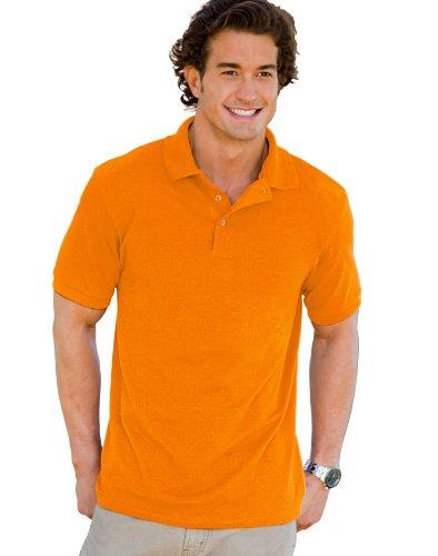 Athletic Pique Sport Shirt - Hanes Men's Superior Pique Polo Sport Shirt, Athletic Orange, XX-Large