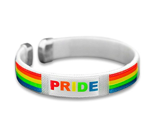 Gay Pride Rainbow Bangle Fabric Bracelet - Support LGBTQ Cause (1 Bracelet) ()