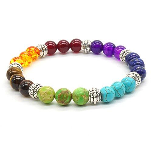 Rainbow Stone Bracelet Crystal Healing Reiki energy Balancing Gemstone stretch Bracelet Round Bead