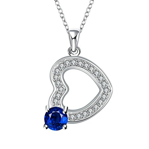 AMDXD Plated Gold Pendant Necklace Chain Blue Elements Crystal Blue Heart Jewelry Women Gift 18