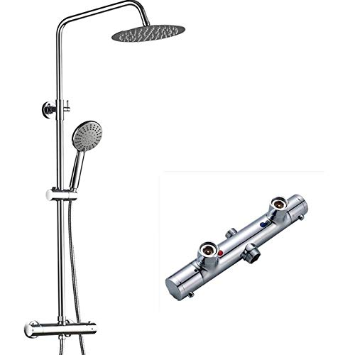 (FChome Bathroom Thermostatic Rain Mixer Shower Combo Set Wall Mounted Height Adjustable Rainfall Shower Head System Polished,Chrome)
