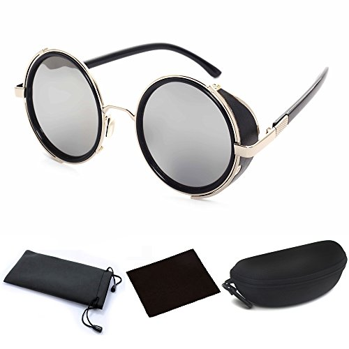 Round Sunglasses Retro Punk Steampunk 50s Fashion Goggles Vintage Style Blinder Silver Frame & Gray Lens for Men Women Unisex Outdoor Bike Riding Driving by JJLHIF