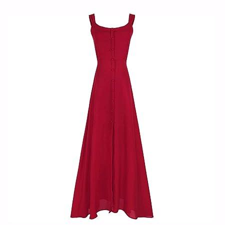 Yijiayu Vestido de Fiesta para Mujer Falda de Playa roja Vestido ...
