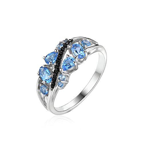 JewelryPalace Women's 1.2ct Natural Black Spinel Swiss Blue Topaz Ring 925 Sterling Silver Size 6