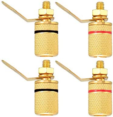 Black Gold Plated 4mm Speaker Binding Post 4pcs Red