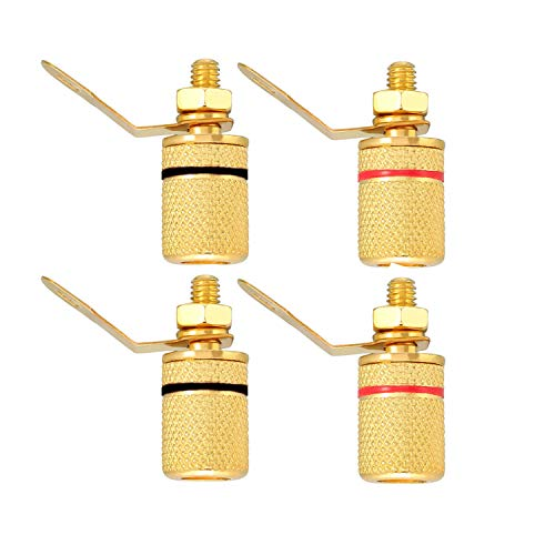 (Maxmoral 4pcs 4mm Banana Jack Binding Post Gold Plated Female Socket Plug Terminal Connector for Loudspeaker Amplifier (2X Red + 2X Black))