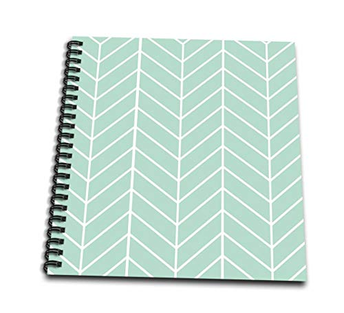 3dRose db_179815_1 Mint Green Herringbone Pattern Trendy Arrow Feather Inspired Design Drawing Book, 8