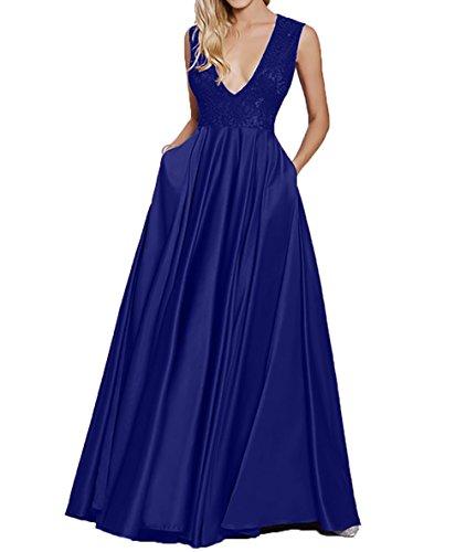 Partykleider Charmant Spitze Damen Royal Brautmutterkleider Sexy Abendkleider Lang Blau Ausschnitt Promkleider Tief V WZaRfOUwZq